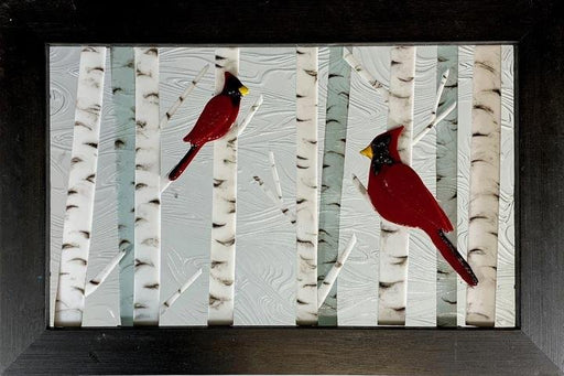 Cardinals in Birch Trees Small Window - Artfest Ontario - Out of Ruins - Glass Work