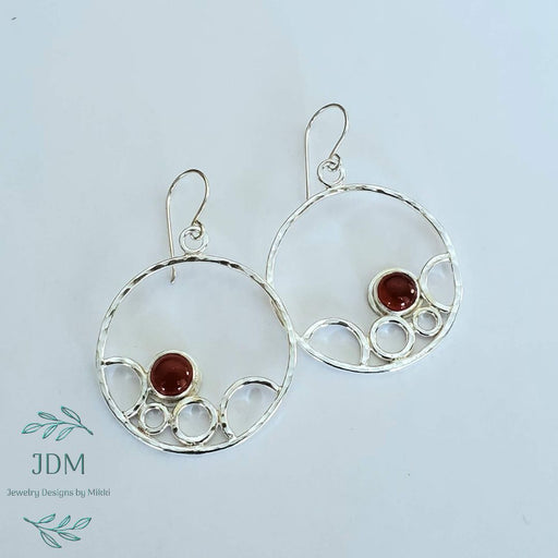 Carnelian Circle Earrings - Artfest Ontario - JDM - Jewelry Designs by Mikki - Jewelry & Accessories