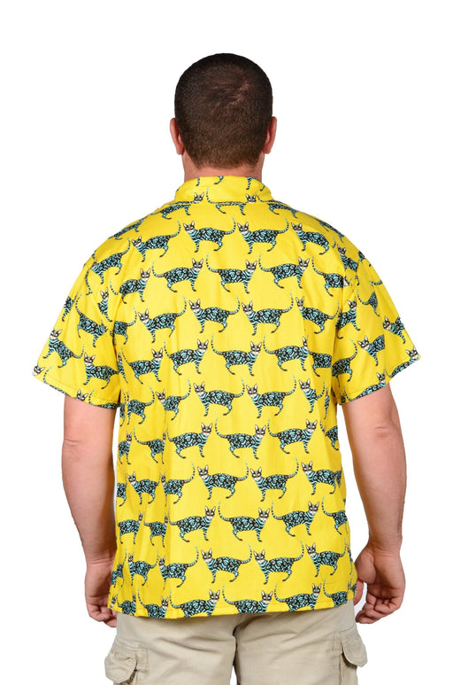 Cats And More Cats Pattern - Yellow - Hawaiian Casual Shirt - Artfest Ontario - Joe-Feak - Clothing & Accessories