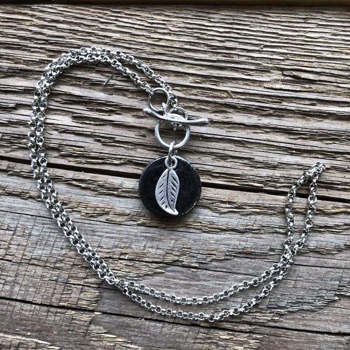 CHARM NECKLACE-SMALL-WITH LEAF IN BLACK - Artfest Ontario - Dotti Potts - Jewellery