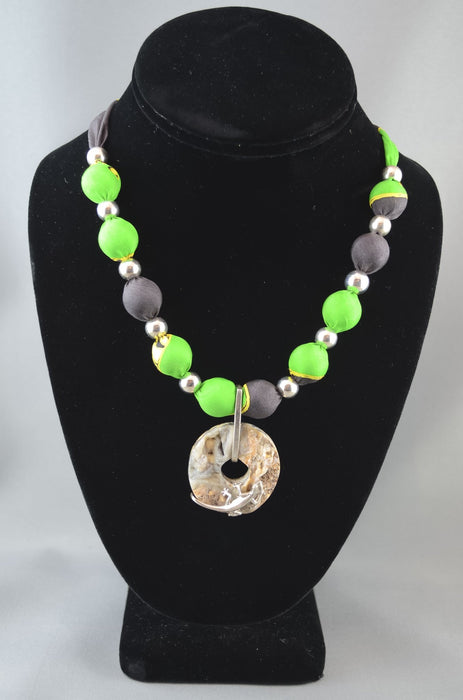 Churring Bird Necklace with Sterling Silver Salamander on Stone - Artfest Ontario - Inunoo - Necklaces