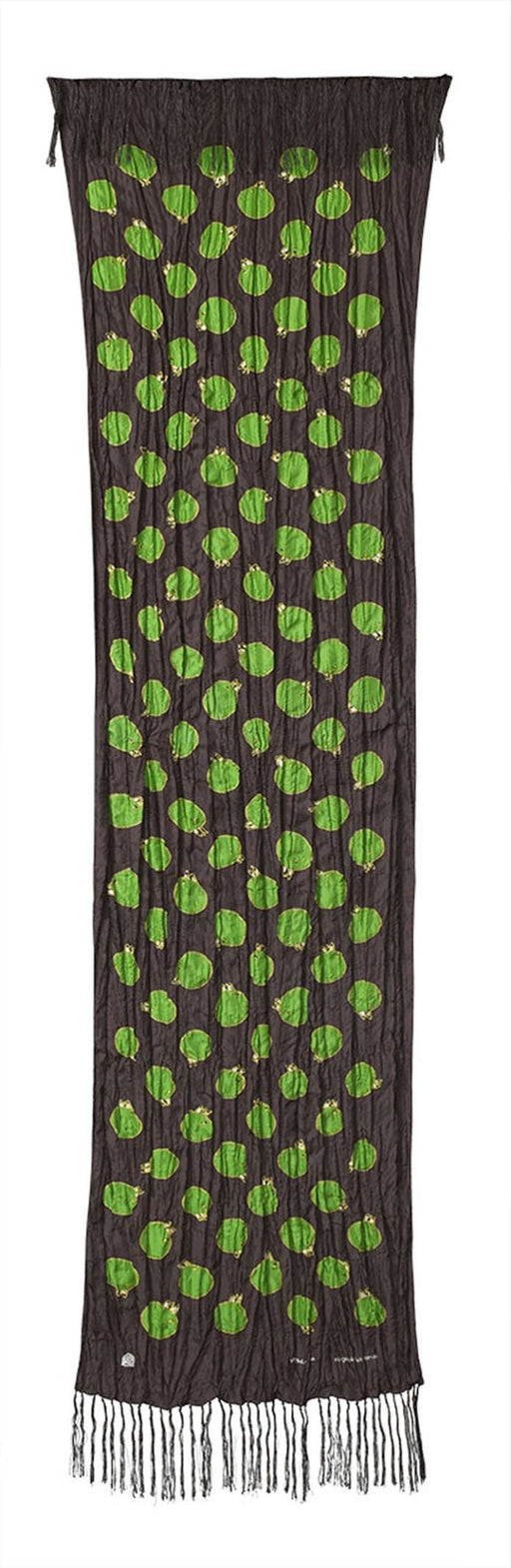 Churring Birds Fringe Scarf (Green/Yellow) - Artfest Ontario - Inunoo - Fringe Scarves