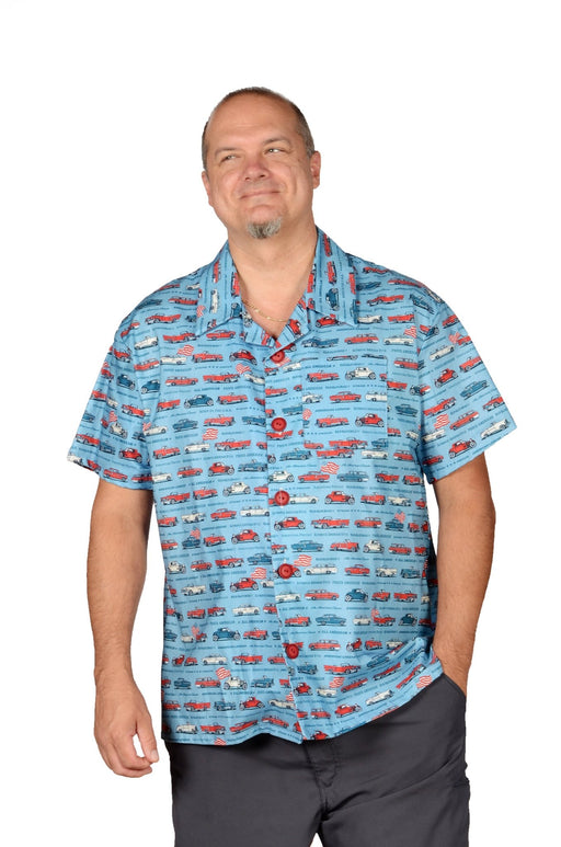 Classic Cars Retro Pattern - Blue - Hawaiian Casual Shirt - Artfest Ontario - Joe-Feak - Clothing & Accessories