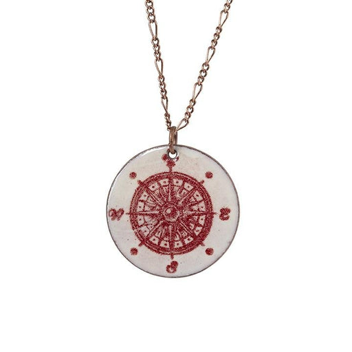Compass in Ivory & Burgundy - Artfest Ontario - Aflame Creations Jewelry -