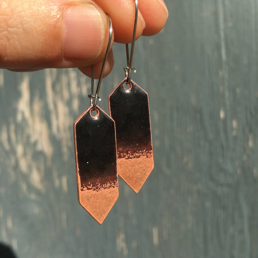Crystal Earrings in Black & Polished Copper - Artfest Ontario - Aflame Creations Jewelry - Jewellery