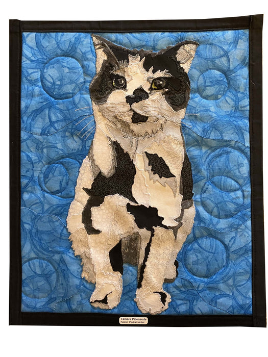 Curious Cat Quilted Portrait - Artfest Ontario - Tamara's Treasured Shop - Home Decor
