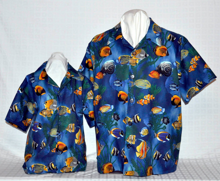 Dad n Son Tropical Fish - Blue - Artfest Ontario - Joe-Feak - Clothing & Accessories