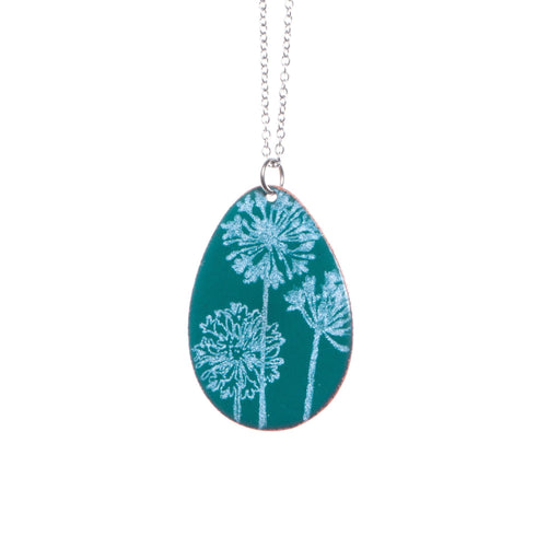 Dandelion Necklace in Teal & White - Artfest Ontario - Aflame Creations Jewelry - Jewellery