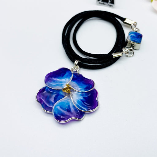 Dark Blue and Purple Pansy Necklace - Artfest Ontario - Studio Degas - Jewelry & Accessories
