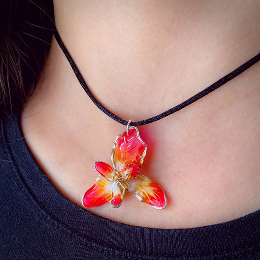 Delicate Sterling Silver and Resin Flower Pendant Red, Orange and Yellow - Studio Degas - Artfest Ontario - Studio Degas - Jewelry & Accessories