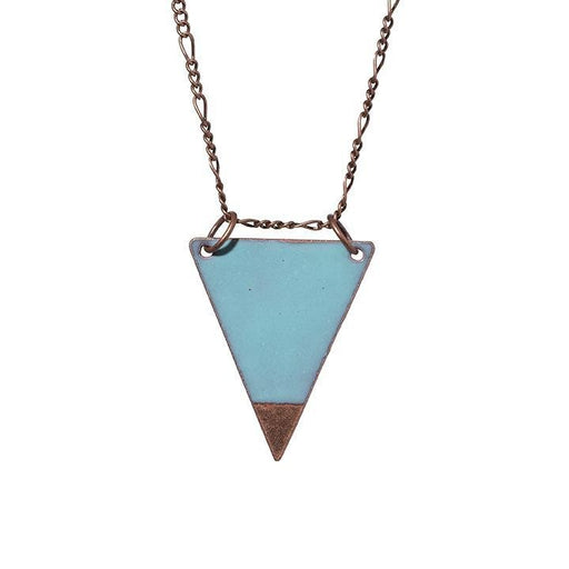 Dipped Triangle Necklace in Aqua & Polished Copper - Artfest Ontario - Aflame Creations Jewelry - Jewellery