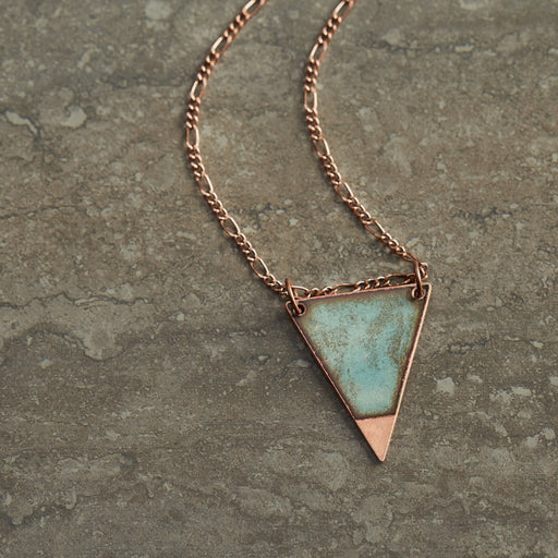 Dipped Triangle Necklace in Shimmering Water Blue & Polished Copper - Artfest Ontario - Aflame Creations Jewelry - Jewellery