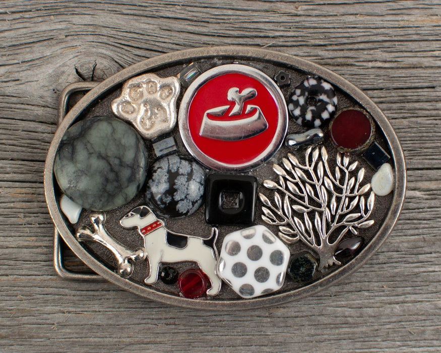 Dog lovers theme Oval Belt Buckle - Artfest Ontario - Lisa Young Design - Belt Buckles