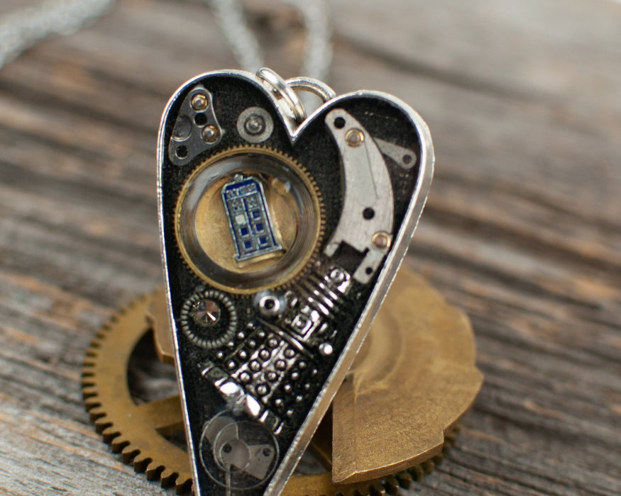 Dr Who theme long heart Necklace - Artfest Ontario - Lisa Young Design - Watch Part Necklaces