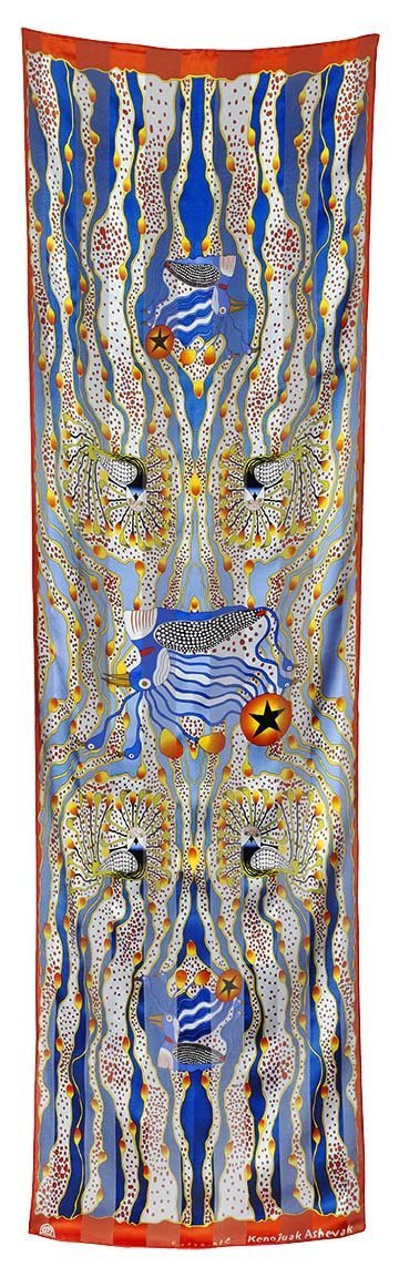 Enchanted Birds Rectangular Scarf (Blue) - Artfest Ontario - Inunoo - Rectangular Scarves