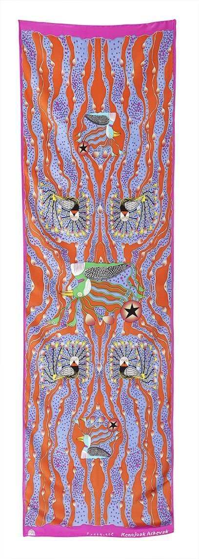 Enchanted Birds Rectangular Scarf (Flame) - Artfest Ontario - Inunoo - Rectangular Scarves