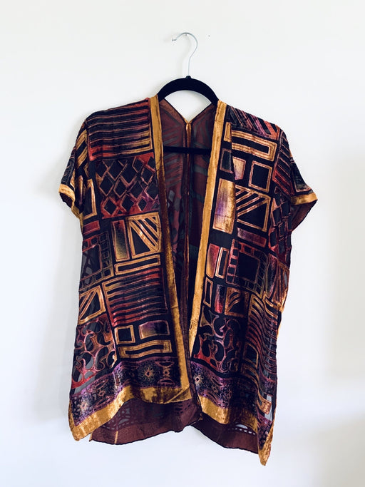 Fall Tones Geometric Velvet Burnout Slim Fit Kimono - Artfest Ontario - Halina Shearman Designs - Clothing & Accessories