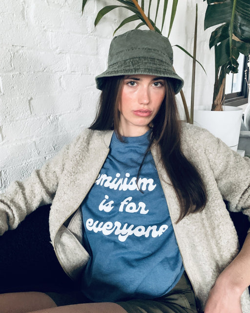 Feminism is for Everyone Blue Crew Neck Crop Tee - Artfest Ontario - Halina Shearman Designs - Sweatshirt