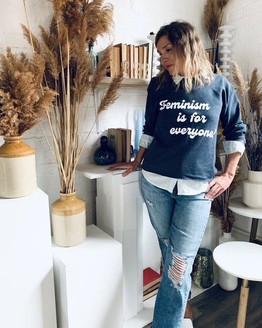Feminism is for Everyone Charcoal Grey Blue Crew Neck Crop Sweatshirt - Artfest Ontario - Halina Shearman Designs - Sweatshirt