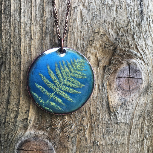 Fern Necklace in Shimmering Blue & Spring Green - Artfest Ontario - Aflame Creations Jewelry - Jewellery