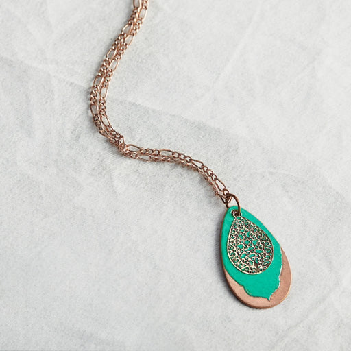 Filigree Petal Necklace in Teal & Polished Copper - Artfest Ontario - Aflame Creations Jewelry - Jewellery