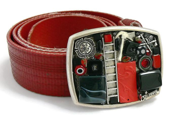 Fireman Theme Belt buckle on recycled fire hose strap - Artfest Ontario - Lisa Young Design - Belt Buckles