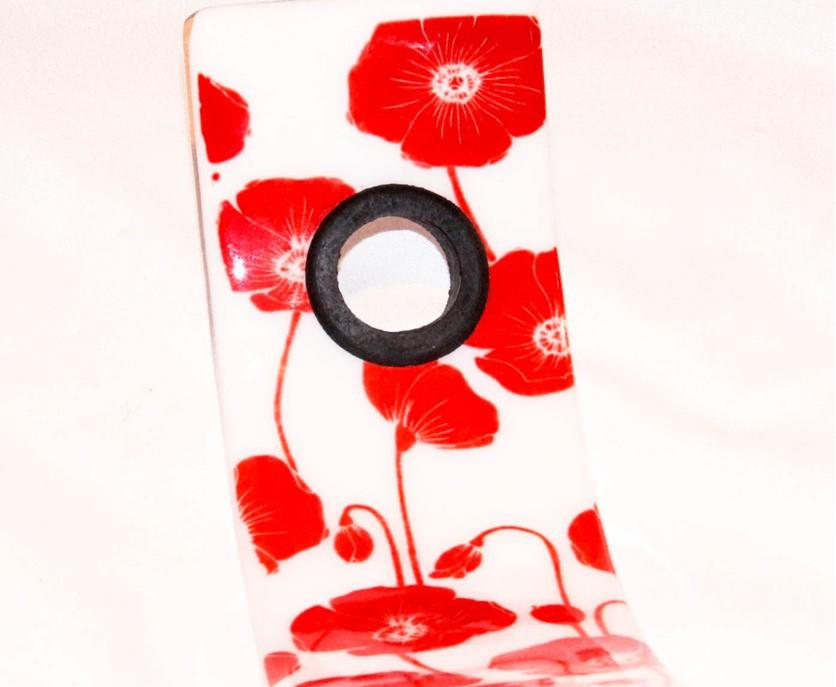 Floating Wine Bottle Holder- Poppies - Artfest Ontario - TigerLily Glass - Glass Art