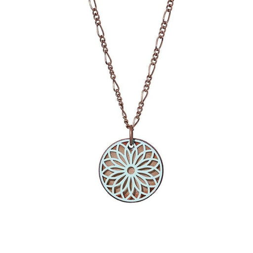 Flower Filigree Necklace in Aqua & Shimmering Copper - Artfest Ontario - Aflame Creations Jewelry - Jewellery
