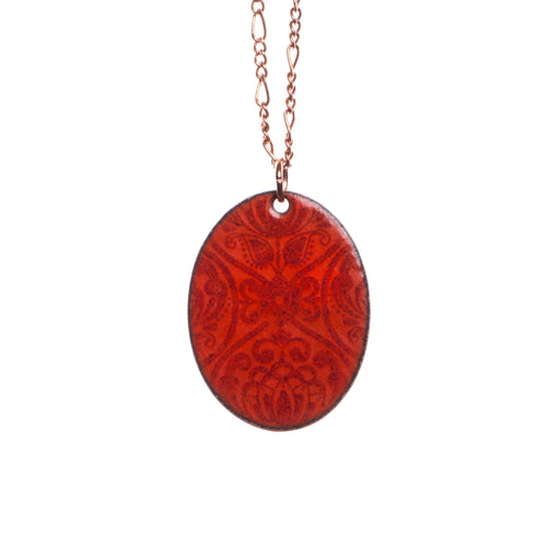 Folk Floral Necklace in Pumpkin & Burgundy - Artfest Ontario - Aflame Creations Jewelry - Jewellery