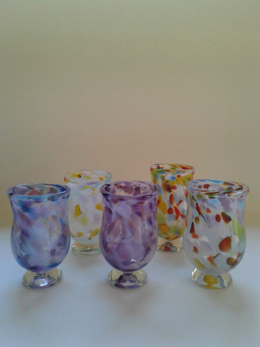 Footed Glass Tumblers - Multi Coloured - Artfest Ontario - Lukian Glass Studios - Glass Work