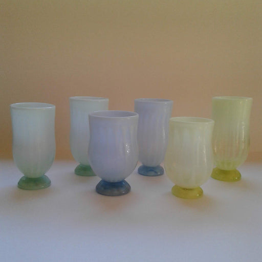 Footed Glass Tumblers - Opalescent - Artfest Ontario - Lukian Glass Studios - Glass Work