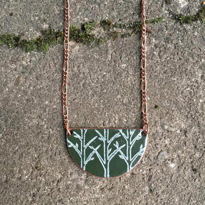 Forest Half-moon Necklace in Alpine Green & White - Artfest Ontario - Aflame Creations Jewelry - Jewellery