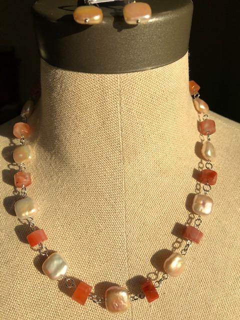 Freshwater Pearls and Botswana Agate Necklace - Artfest Ontario - Creations GDC - Jewelry & Accessories