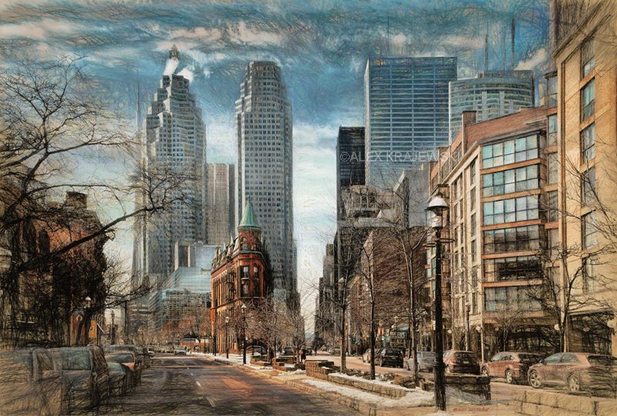 Front Street Gooderham View (Toronto, Ontario) - Artfest Ontario - Alex Krajewski Gallery - Paintings -Artwork - Sculpture