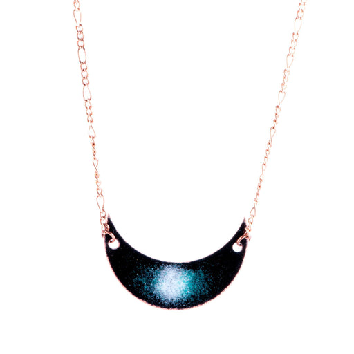 Galaxy Crescent Moon Necklace in Black & White - Artfest Ontario - Aflame Creations Jewelry - Jewellery