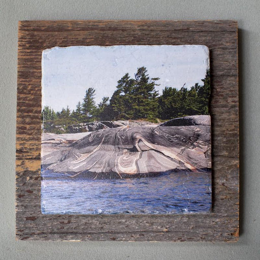 Georgian Bay Rocks - On Barn Board 0243 - Artfest Ontario - Art On Stone - Photography