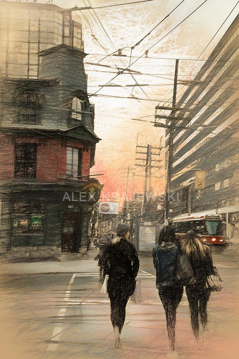 Girls Crossing - Bathurst St. Toronto, ON - Artfest Ontario - Alex Krajewski Gallery - Paintings -Artwork - Sculpture