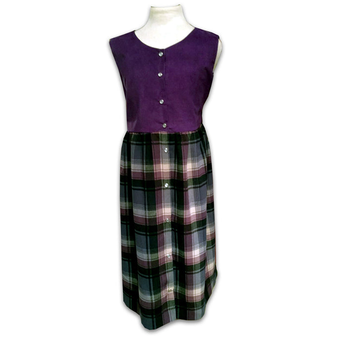 Girls Jumper - Purple Plaid Tartan with Corduroy Top - Artfest Ontario - Muffin Mouse Creations - Clothing & Accessories