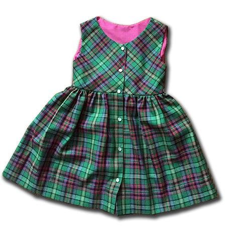 Girls Plaid Jumper - Green & Pink Tartan Plaid - Artfest Ontario - Muffin Mouse Creations - Clothing & Accessories