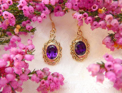 Gold Oval Amethyst Earrings with Celtic Weave Surround - Artfest Ontario - Delicate Touch Jewellery - Fine Jewellery