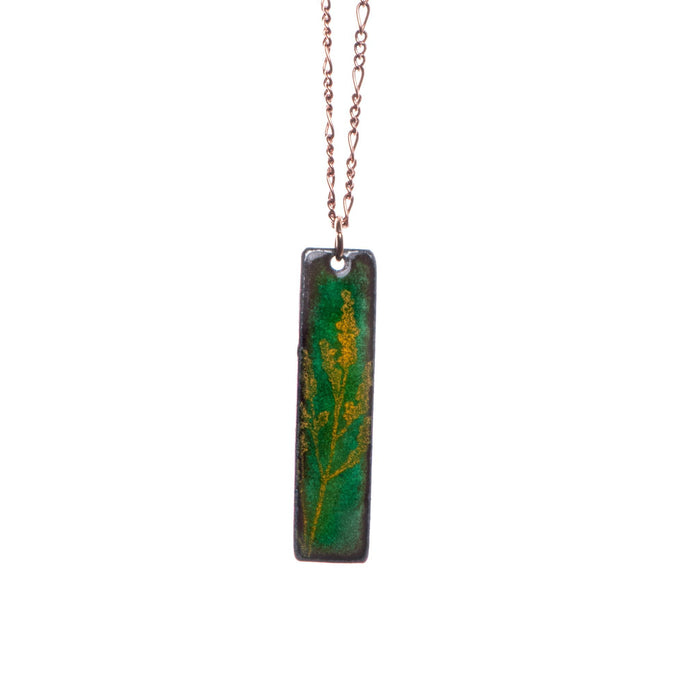 Goldenrod Necklace in Shimmering Grass Green & Yellow - Artfest Ontario - Aflame Creations Jewelry - Jewellery