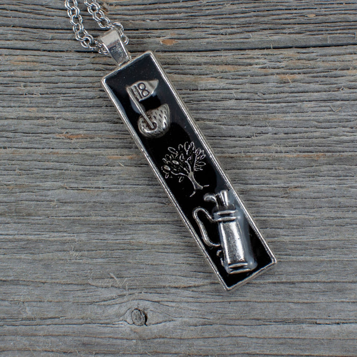 Golf theme necklace - long bar - Artfest Ontario - Lisa Young Design - Golf Jewelry