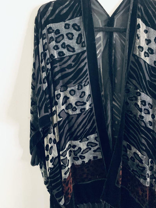 Grey and Black Animal Print Velvet Burnout Kimono - Artfest Ontario - Halina Shearman Designs - Clothing & Accessories