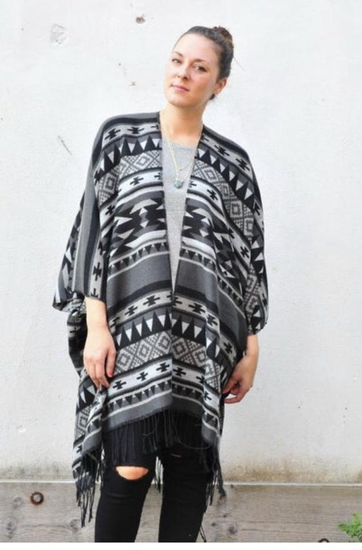 Grey and Black Southwest Fleece Kimono - Artfest Ontario - Halina Shearman Designs - Clothing & Accessories