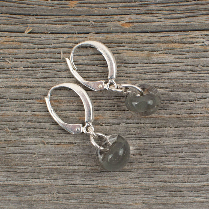 Grey borosilicate glass teardrop and silver earrings - Artfest Ontario - Lisa Young Design - Earrings
