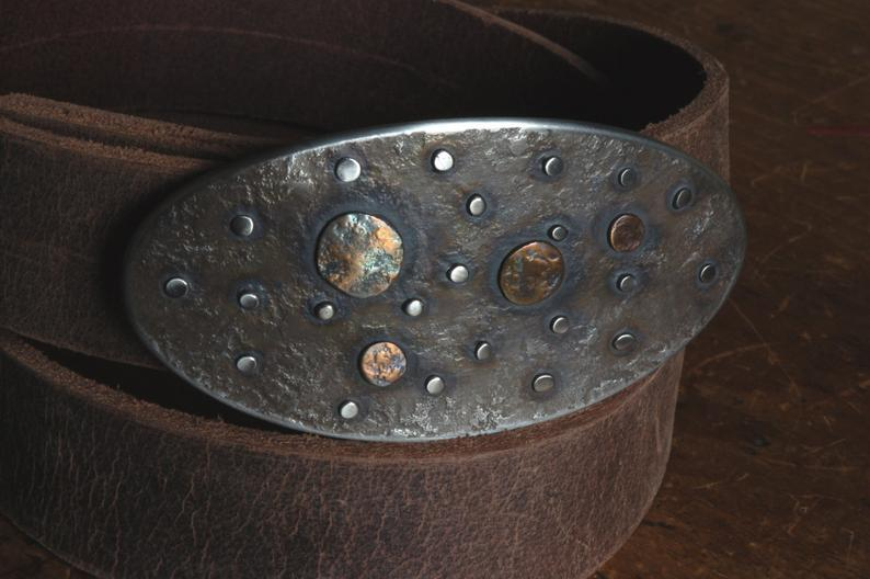 Guitar Pick Belt Buckle w/ Leather Snap Belt - Artfest Ontario - Iron Art - Clothing & Accessories