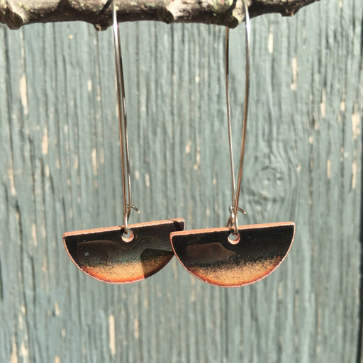 Half-moon Drop Earrings in Black & Copper - Artfest Ontario - Aflame Creations Jewelry - Jewellery