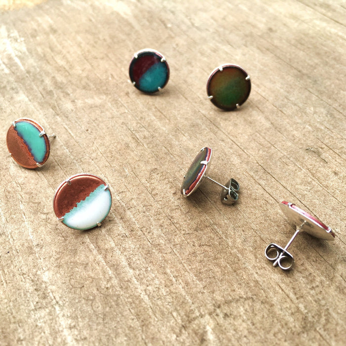 Half-moon Stud Earrings in Aqua & Shimmering Copper - Artfest Ontario - Aflame Creations Jewelry -