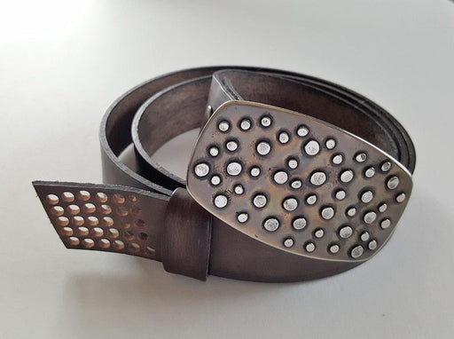 Handcrafted Canadian Belt & Buckle SET Hand Forged Polka Dot Belt Buckle w/ Hand Dyed Leather Slate Wood Grain Snap Belt for Jeans or Chinos - Artfest Ontario - Iron Art - Clothing & Accessories