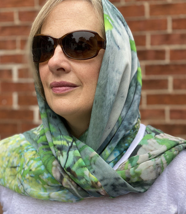 Happy Valley Birch Silk Georgette Wrap - Artfest Ontario - Water Wood Style - Silk Georgette Shoulder Wrap